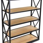 Steel Frame X Sided Shelving Unit With 5 Solid Wood Tiers Open Back Natural