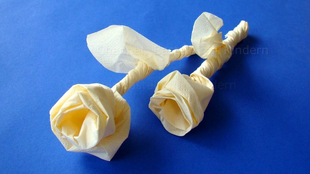 Servietten falten Rose  Origami Rose basteln mit