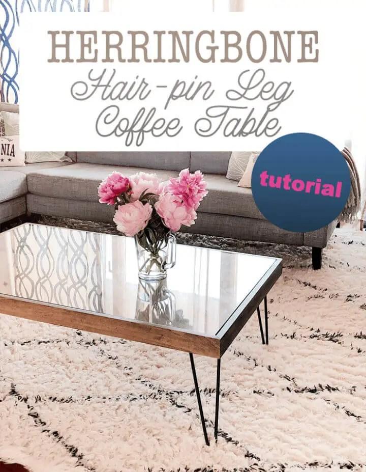 DIY Herringbone Hairpin Leg Coffee Table 1