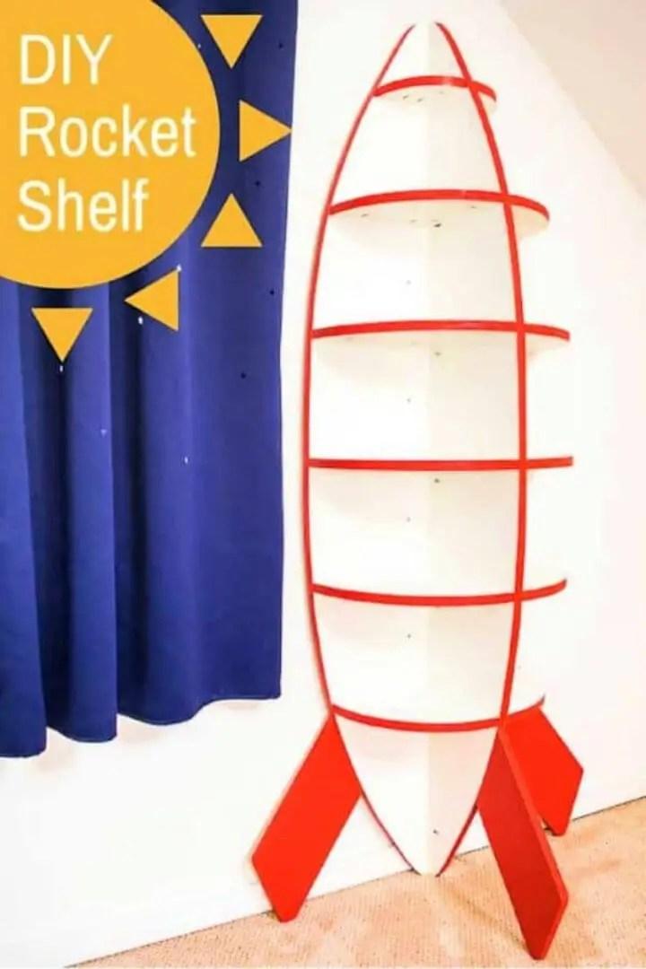 DIY Rocket Bookshelf for Space Themed Bedroom