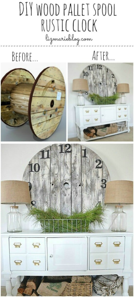 30 wood pallet spool clock diyncraftscom farmhouse furniture collection