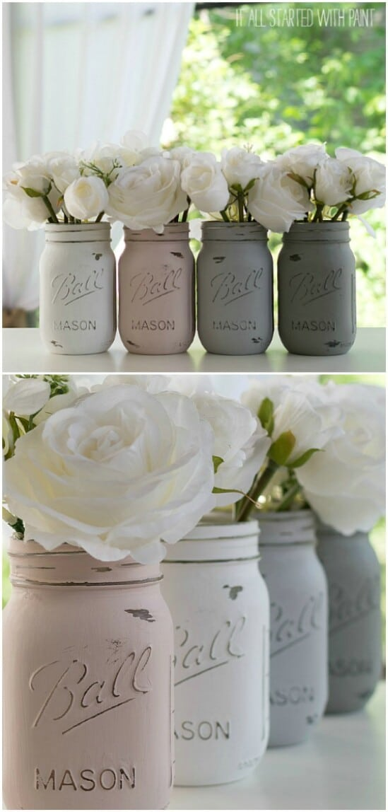49 painted mason jars diyncraftscom farmhouse furniture collection
