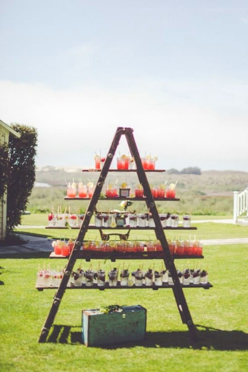 Rustic Ladder Cocktail Display