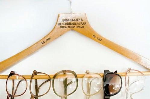 Suit Hanger Turned Glasses Rack