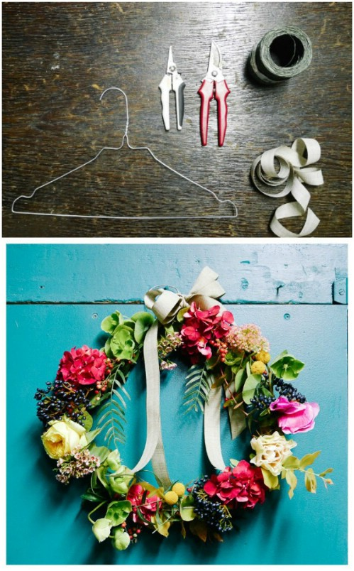 Repurposed Wire Hanger Wreath