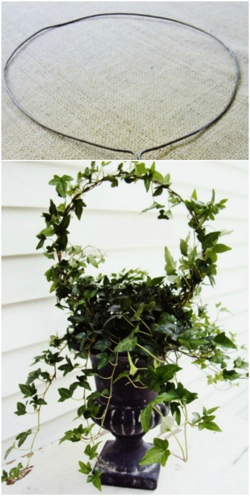 Upcycled Wire Hanger Topiary