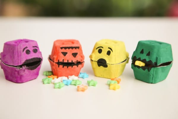How to Make a Halloween Monster Treat Box from Egg Cartons