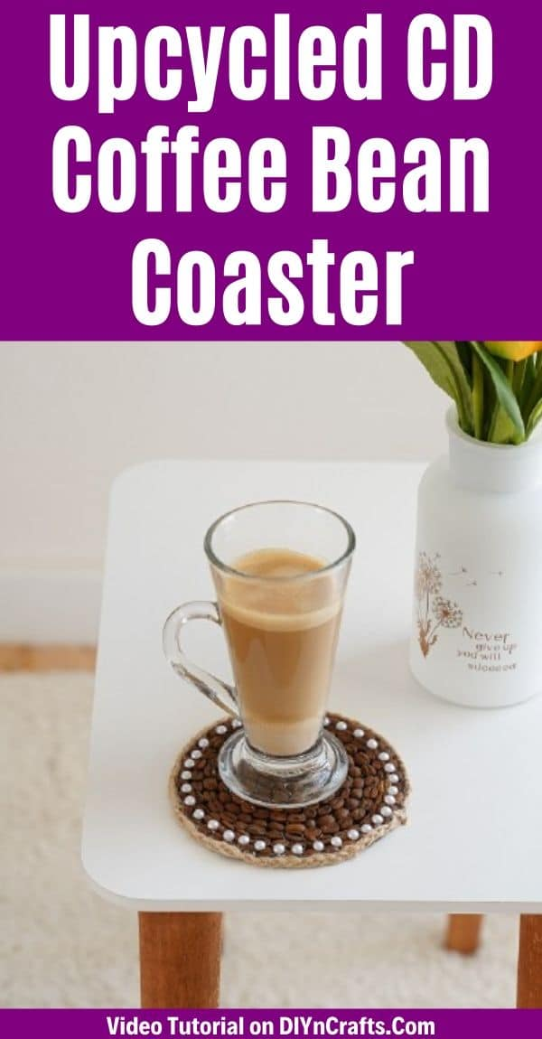 Coffee bean coaster with glass of coffee on white table