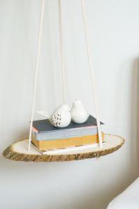 DIY Hanging Bedside Wood Shelf