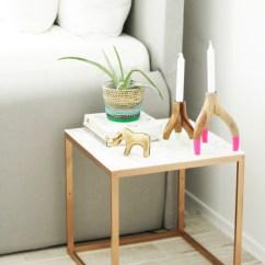 Lack Sofa Table As Desk New York City Sofas 25 Genius Ikea Hacks 1 Faux Marble Nightstand