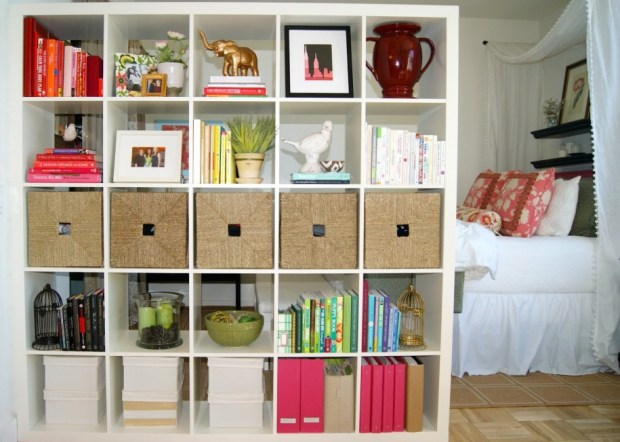 Multi-Use Rooms IKEA Shelf with Storage Buckets and Boxes Books Knickknacks Plants Bedroom with Hardwood Floors