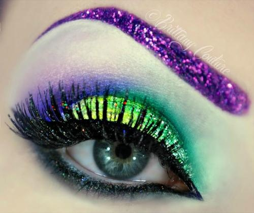 Glitter brows and lashes