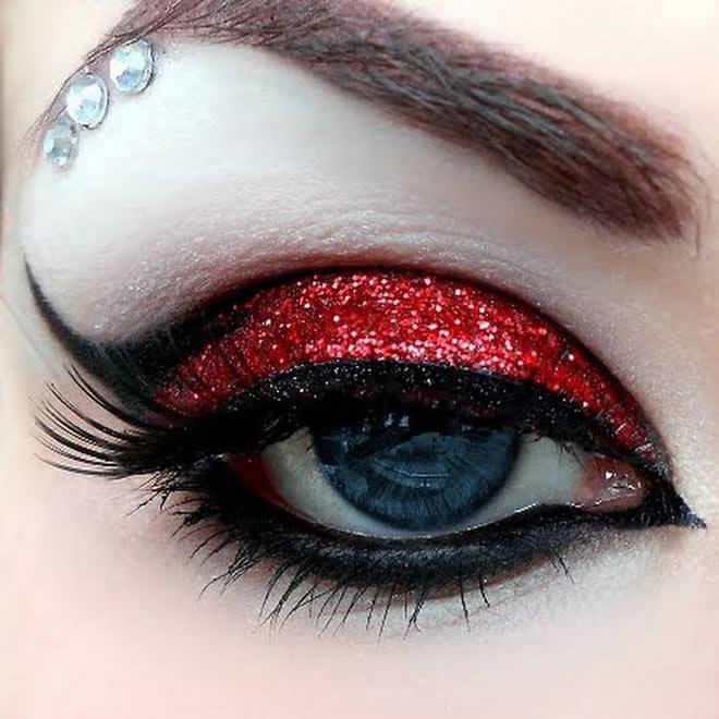 Red glitter and rhinetsones