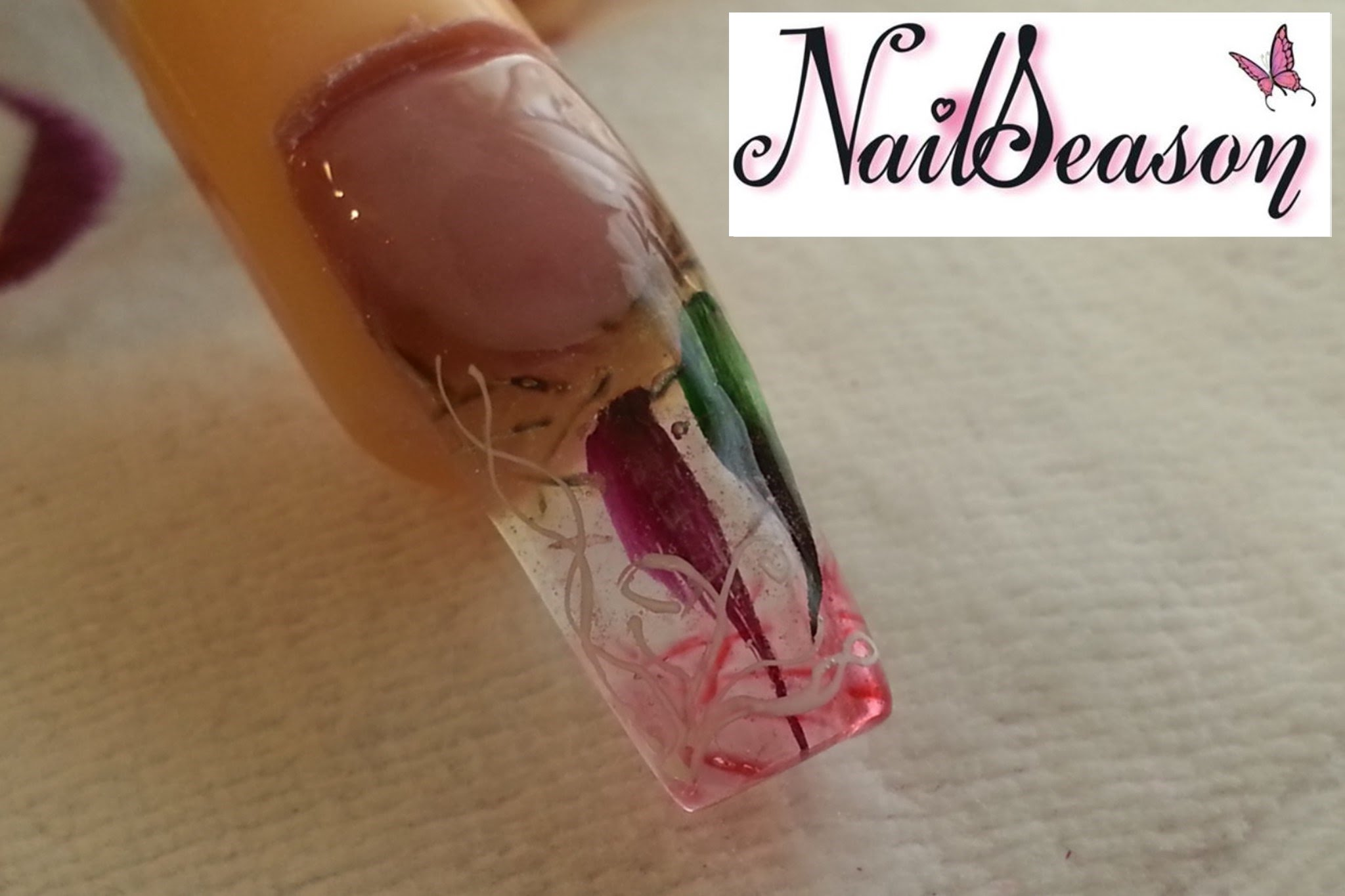 Clear Acrylics With Inset Petals