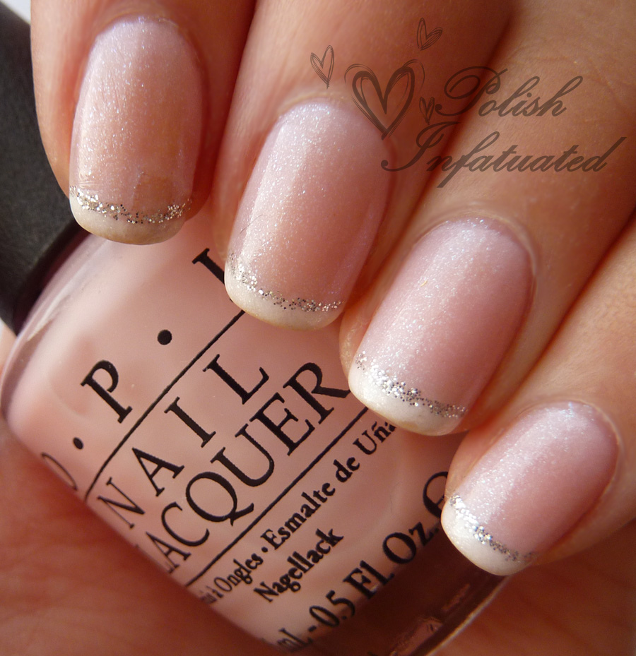French Tip With Glitter Wedding Nail Design