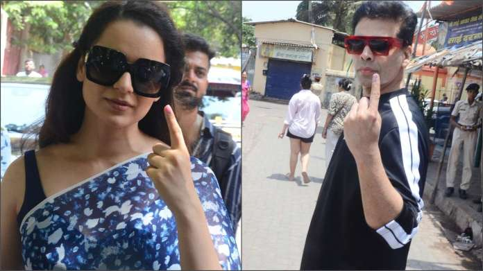 Kangana Ranaut and Karan Johar flaut their index fingers after voting