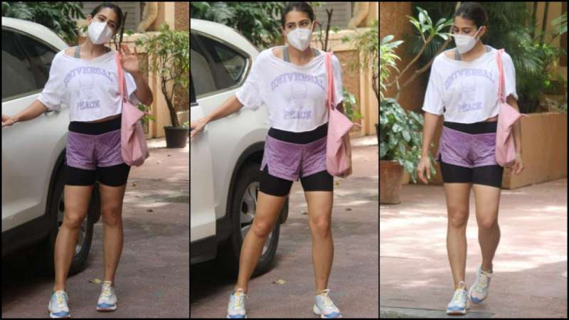 Sara Ali Khan waves at the paparazzi post her workout session