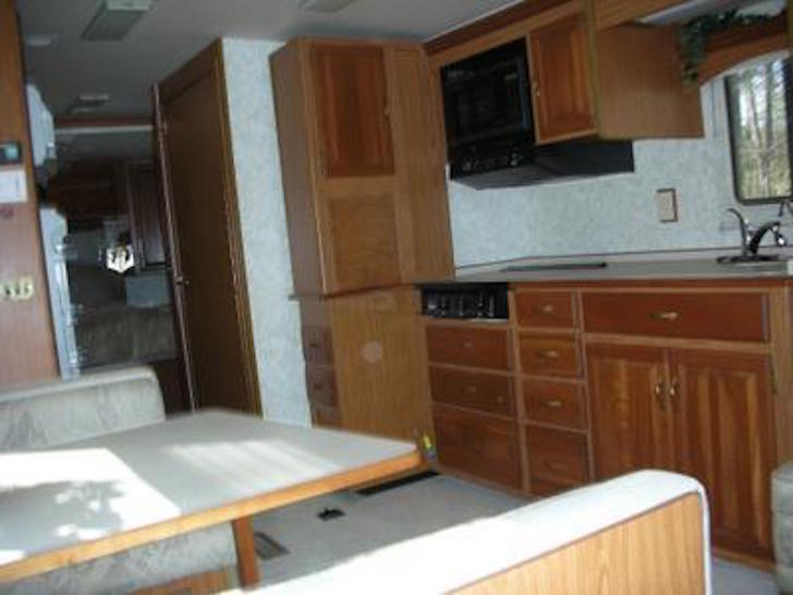 repainting kitchen cabinets mosaic backsplash rv renovation on a winnebago chieftain interior