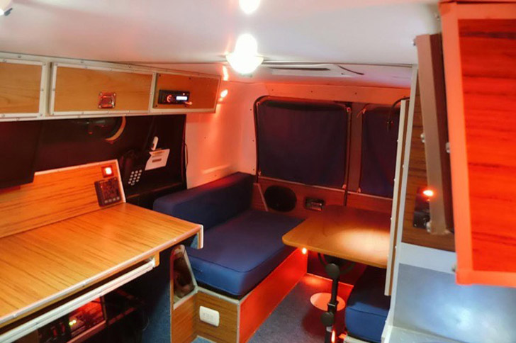 desk chair tall ikea kivik nondescript ford econoline van converted to stealth office