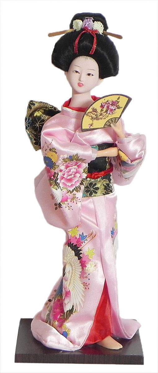 Japanese Geisha Doll in Printed Light Pink Kimono Dress Holding Fan