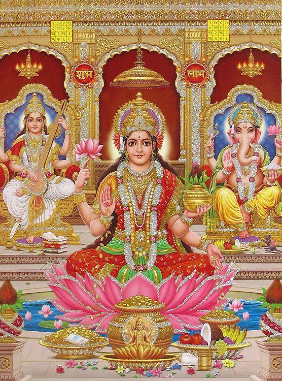 Laxmi Yantra Hd Wallpaper Lakshmi Saraswati And Ganesha Poster With Glitter