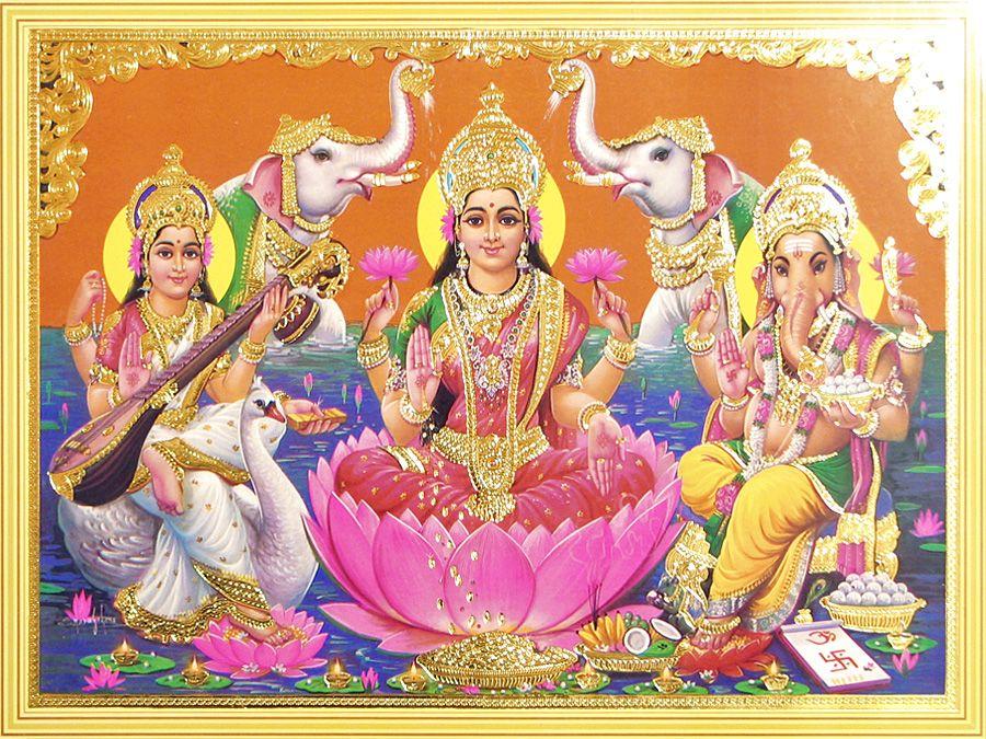 Goddess Saraswati Hd Wallpapers Lakshmi Saraswati And Ganesha With Elephants