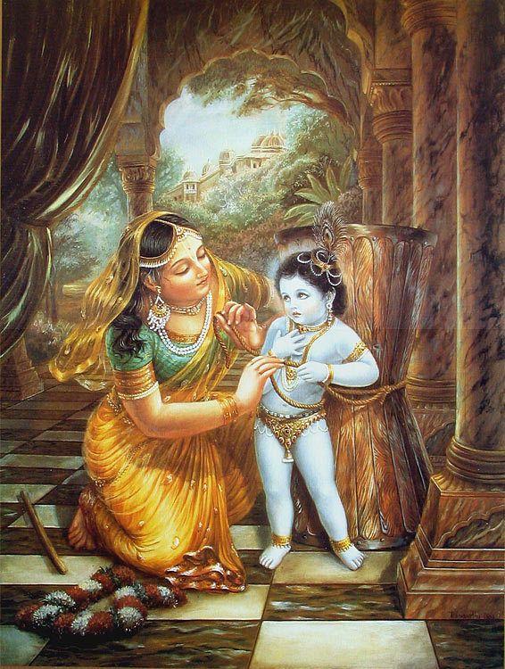 Cute Baby Jesus Wallpaper Mother Yashoda Tying Krishna