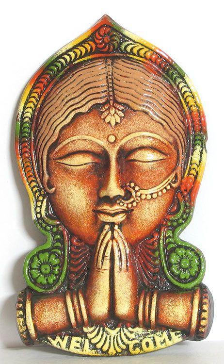 Namaste Indian Style Of Welcoming Wall Hanging