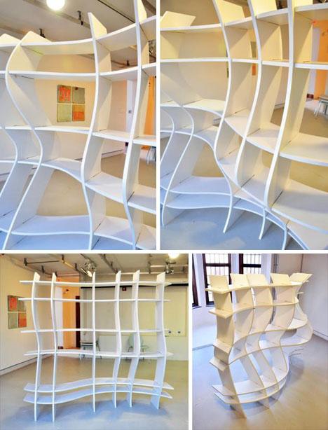 unique curved custom bookcase