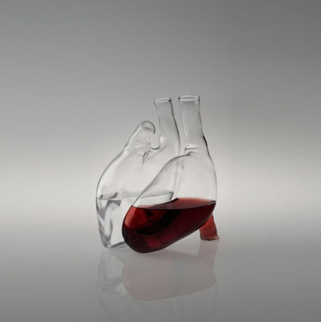 dornob: Heart-Shaped Carafe & Decanter Set is Somewhat Creepy