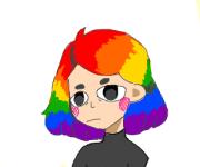 girl with short rainbow hair