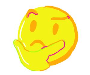 thinking emoji sign drawception
