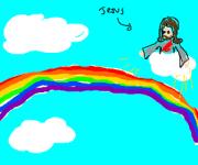floating rainbow in sky