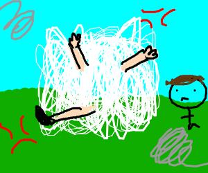 Women fight in a cartoon dust cloud over a man  Drawception