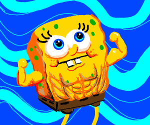buff spongebob drawception