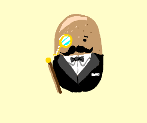 A fancy potato in a suit with a cane drawing by AmmoOwl