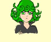 anime girl with neon green hair
