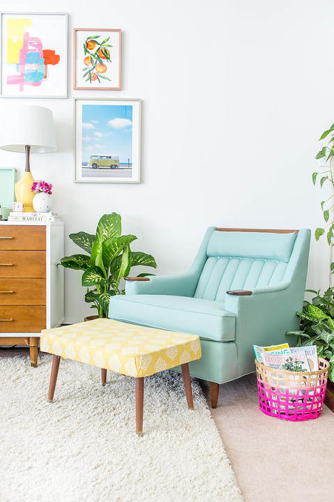 where to get chairs reupholstered wicker parsons mid century lounge chair makeover dream green diy