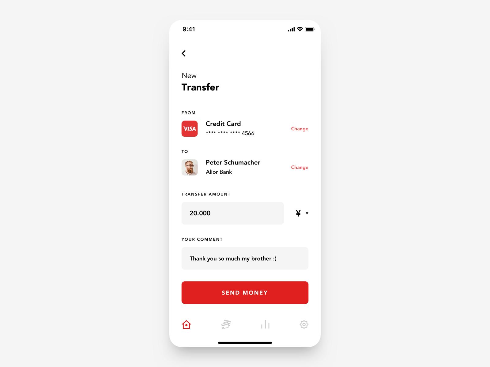 Santander App redesign concept- New transfer by Bartek