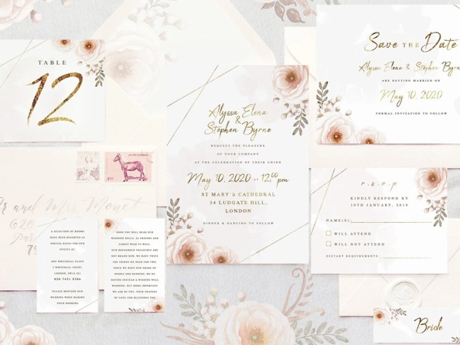 Whimsical Wedding Invitation Suite By