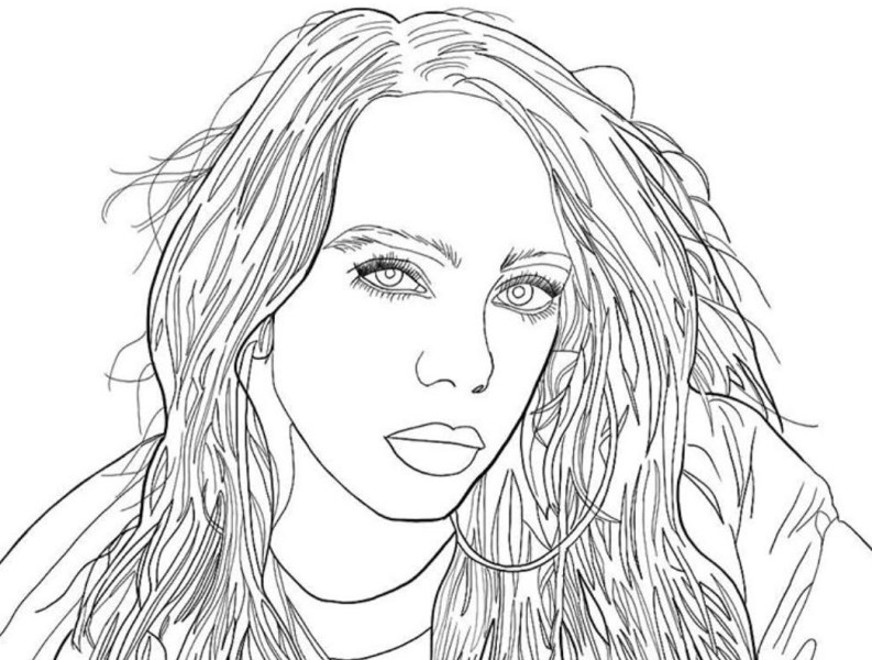 outline portrait process of billie eilishsaoirse