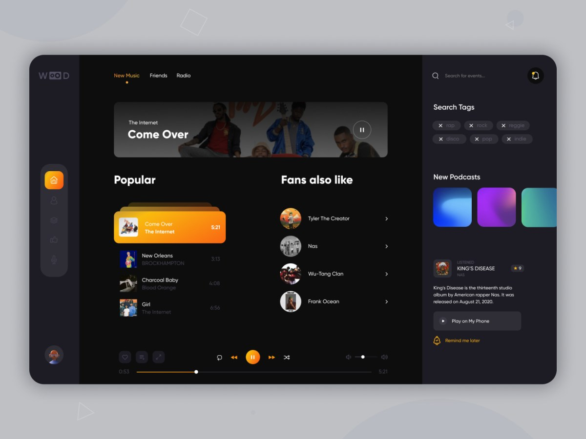 Music Player UI Design Inspiration