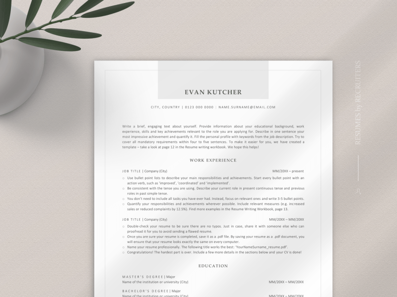 Resumes are unique to everyone based on your experience, industry, and the job you're applying for. Modern Ats Friendly Resume Template Ats Optimized Cv By Resume Templates On Dribbble