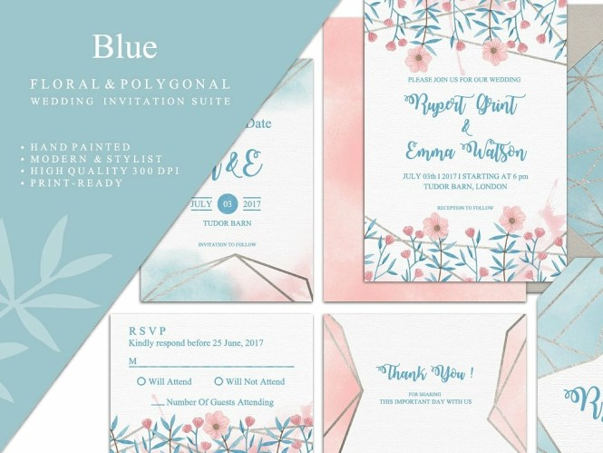 Blue Wedding Invitation Suite By