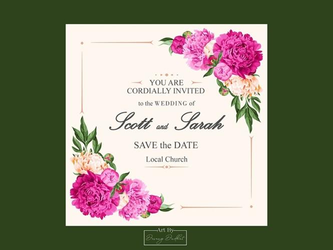 Sarah Scott Wedding Invitation Card