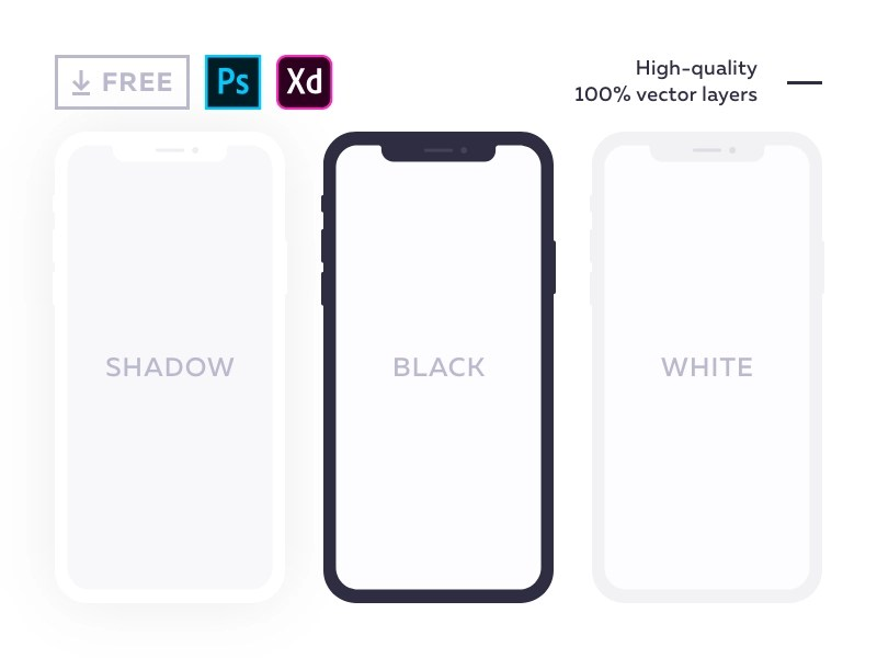 Free flat mockup for iPhone X