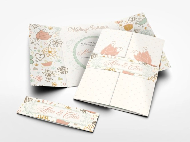 Gatefold Wedding Invitation Mockup By