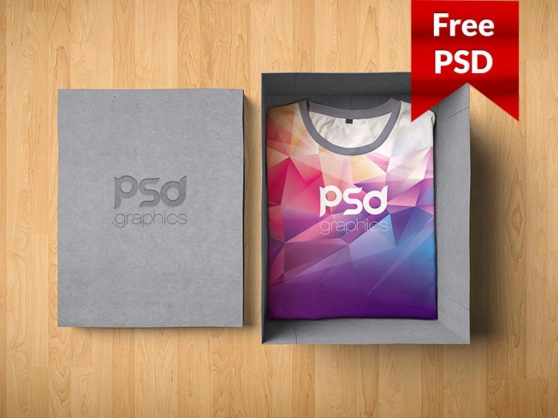 Download T-Shirt Box Packaging Mockup Free PSD by PSD Freebies on ...