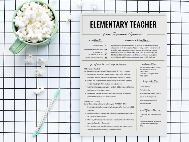 Free Elementary Teacher Resume Template