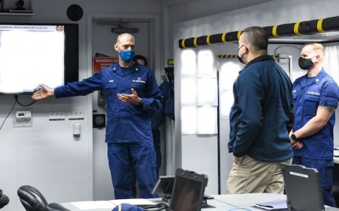 Acting Homeland Security Secretary Peter Gaynor receives a Coast Guard briefing regarding security operations for the 2021 Presidential Inauguration from Lt. Cmdr. Christopher Rosen, deputy incident commander, at the Enhanced Mobile Incident Command Post at Joint Base Anacostia-Bolling, Washington, Jan. 16, 2021. On Sept. 24, 2018, the Department of Homeland Security designated the Presidential Inauguration as a recurring National Special Security Event. Events may be designated NSSEs when they warrant the full protection, incident management and counterterrorism capabilities of the Federal Government. (U.S. Coast Guard photo by Petty Officer 3rd Class Kimberly Reaves/Released)